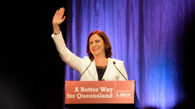 Annastacia Palaszczuk waves to the crowd at a Qld Labor Party launch held at the Ipswich Civic Centre.