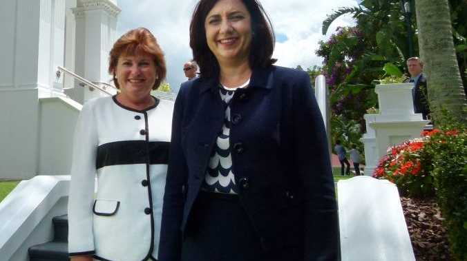 HAPPIER TIMES: Jo-Ann Miller and Annastacia Palaszczuk.