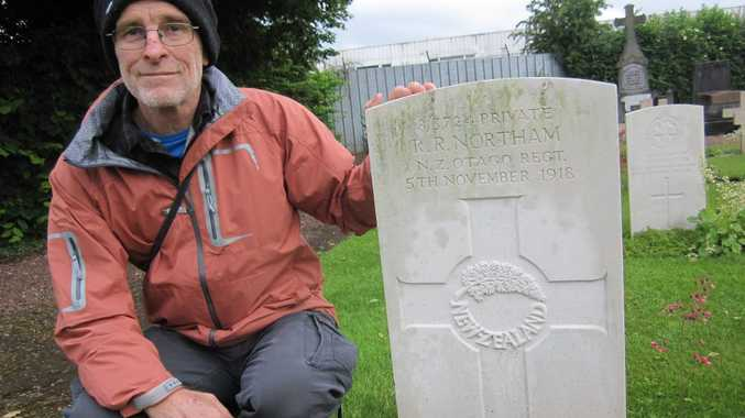 Grafton accountant Bob Northam visits the grave of his great-uncle Robert Rowan Northam, who was the last New Zealand soldier to be killed in the first World War.