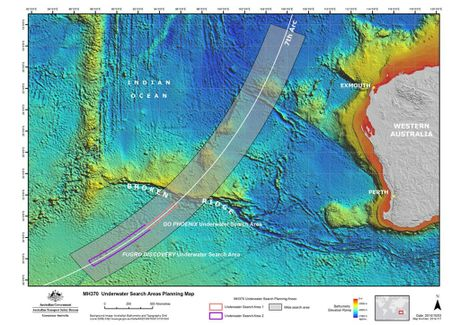 A handout picture made available by the Australian Joint Agency Coordination Centre (JACC) on 08 October 2014 shows the underwater search areas for missing Malaysia Airlines flight MH370 in the Indian Ocean, off Western Australia.