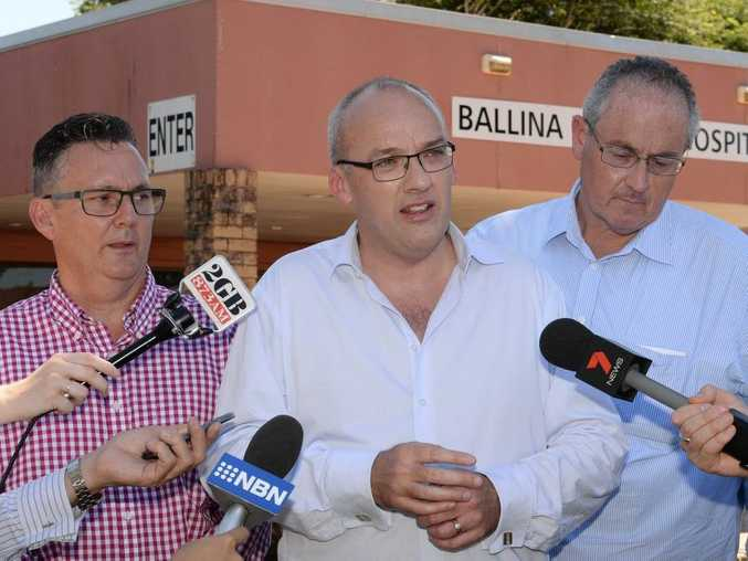 Labor Candidate for Ballina Paul Spooner, Labor leader Luke Foley, and Shadow Minister for Health Walt Secord in front of the Ballina District Hospital.