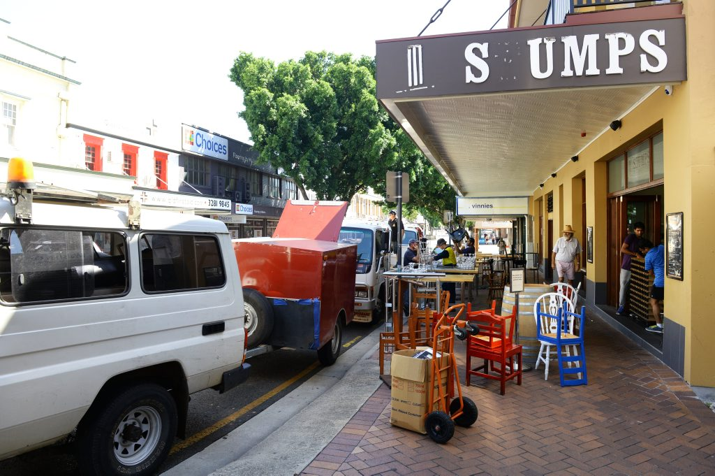 YOU'RE OUT: Furniture and stock was being removed from Stumps Hotel in Brisbane Street yesterday.