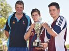 The McDonalds Charity Cup - (L) Andrew Catton (coach) with Fraser Flames players Luke Murphy and Chris Amarandos. Photo: Alistair Brightman / Fraser Coast Chronicle