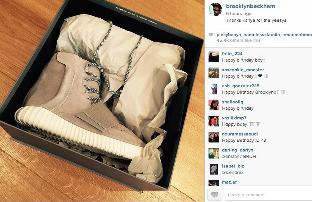 Brooklyn Beckham's new Yeezy trainers (c) Instagram