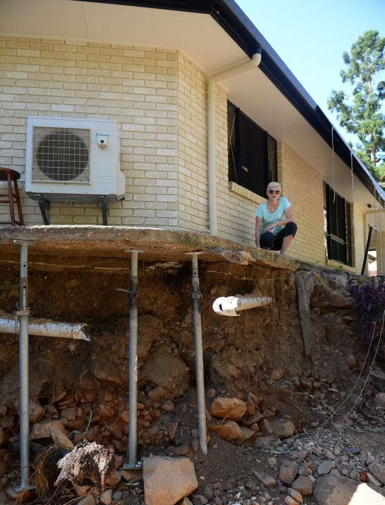Bronwyn Bridges home was damaged by flash flooding during cyclone Marcia. Photo Allan Reinikka / The Morning Bulletin