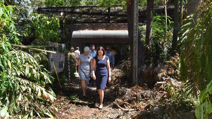 Queensland Premier Annastacia Palaszczuk met with Rockhampton Mayor Margaret Strelow and Keppel MP Brittany Lauga at the Botanical Gardens to view the damage, after touring cyclone-affected farms along the Capricorn Coast. Photo Rachael Conaghan/The Morning Bulletin