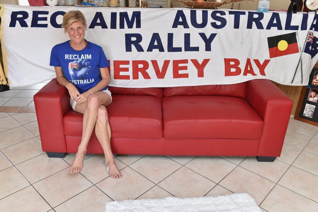 Mandy Chapman organizing a Reclaim Australia rally on Easter Saturday.