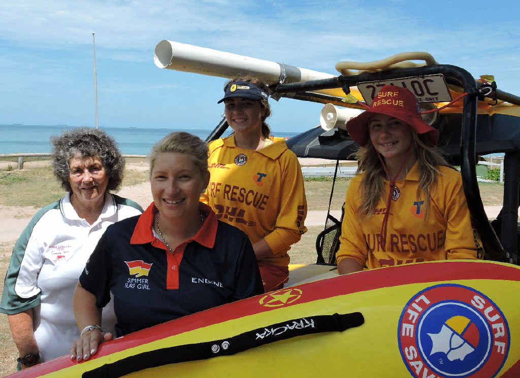 A WOMAN'S WORLD: Jennie Mack, Fiona Dunn, and Kaylarni and Keesha Close enjoy the female camaraderie that comes with being surf lifesavers.