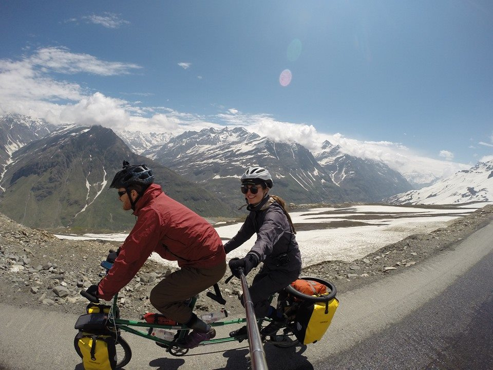 Travelling the highest road in the world on a tandem bicycle. What better way for newly weds to work out if it's meant to be?