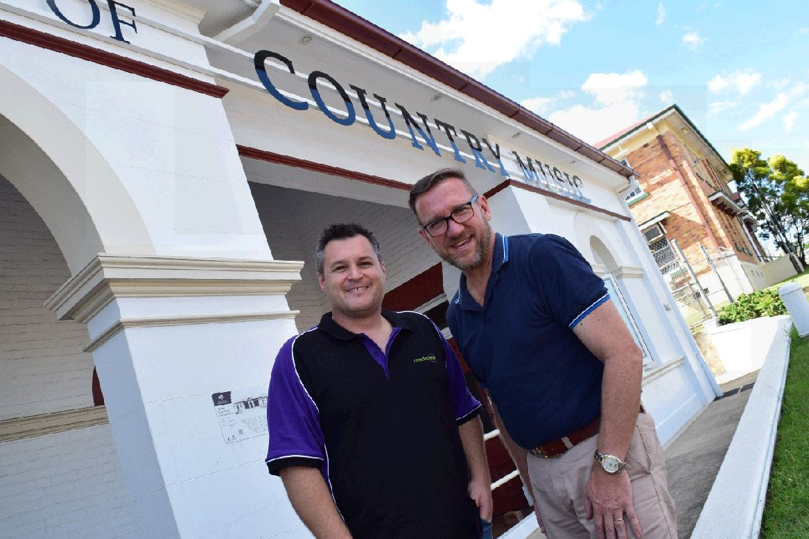 WORKING TOGETHER: Simon Birks and David Gibson, working together for the Gympie music industry this week. contributed