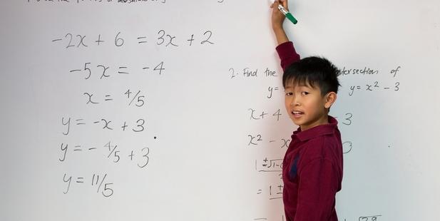Jensen Au Yeng, 10, has jumped five grades to study maths and physics at ACG Senior College. Photo / Brett Phibbs