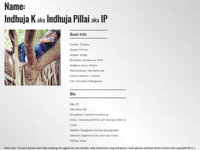 Injhuja Pillai's 'Marriage CV' on her website
