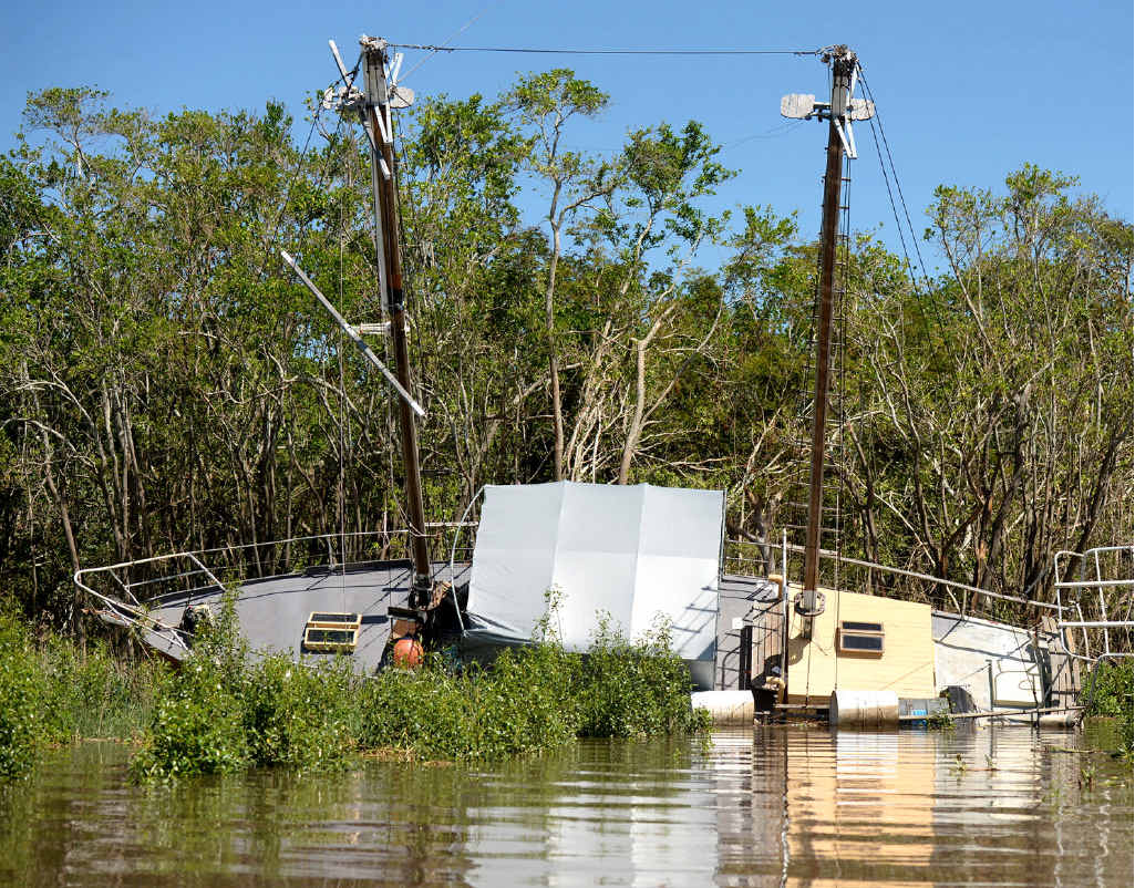 TRAPPED: Some of the boats damaged during cyclone Marcia.
