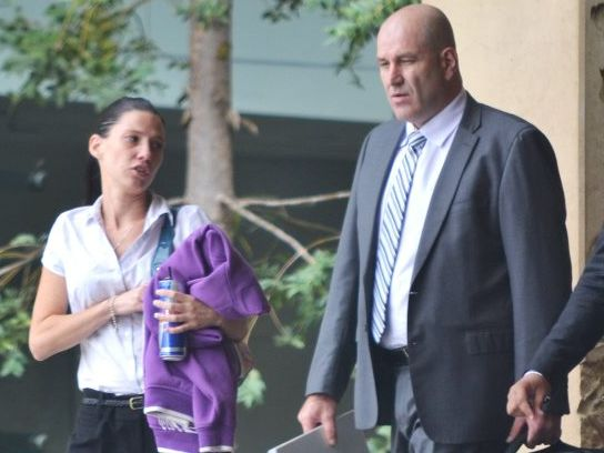 Colette Anne Stelzer with lawyer Damien Gates outside Ipswich Courthouse. Photo: Chris Owen / The Queensland Times