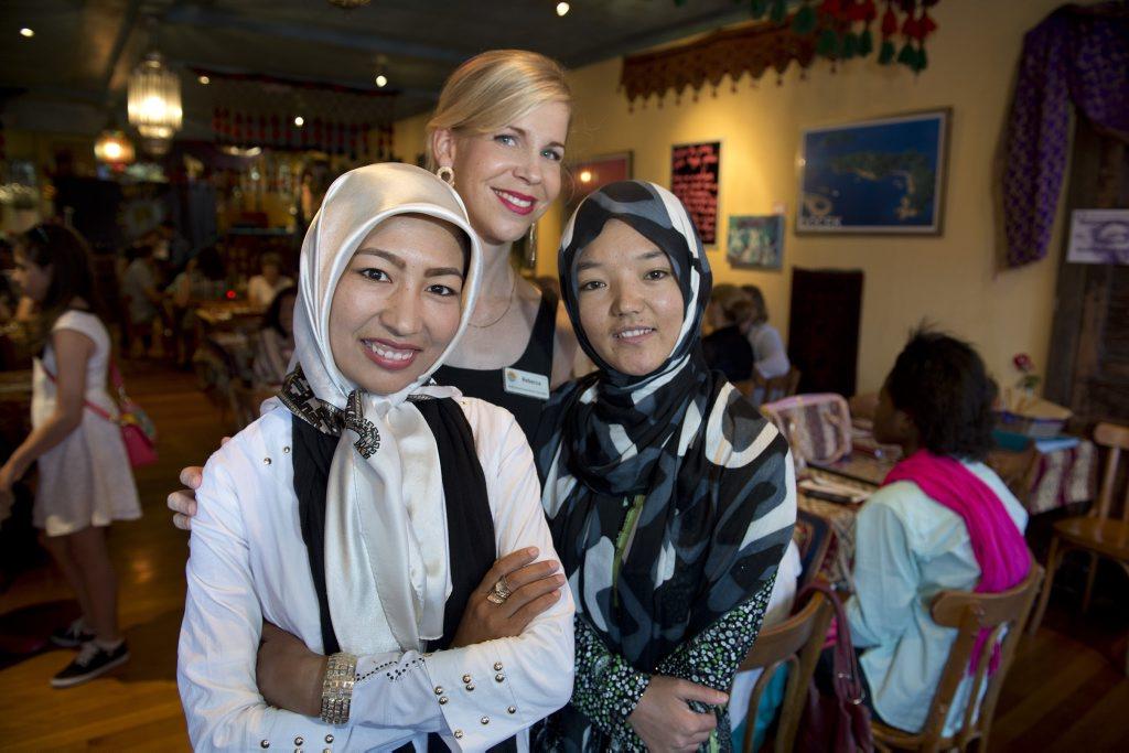Celebrating International Women's Day are (from left) Masoumeh Hosseini, Rebecca Dawson and Shakeela Abdulhadi at Sofra, Sunday, March 8, 2015. Photo Kevin Farmer / The Chronicle