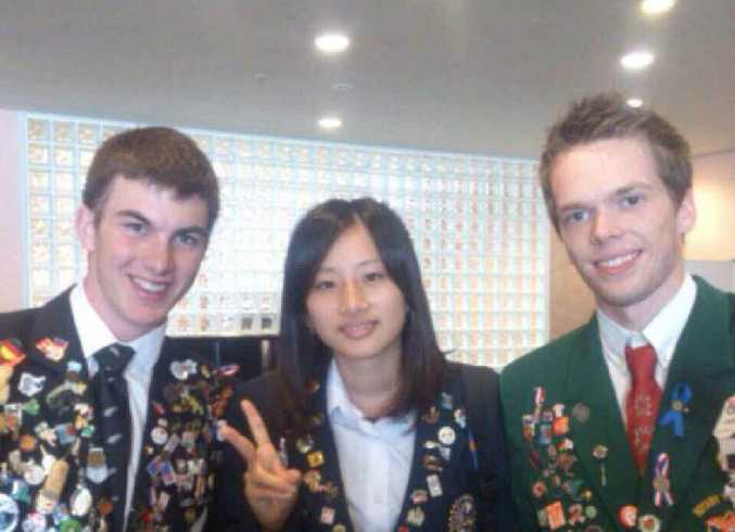 CULTURAL EXCHANGE: Jake Hinds (right) with friends Brennan Galpin and Mayu Koizumi