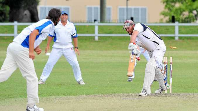 GOTCHA: Coutts Crossing opener Tim Tilse is clean bowled by Brayden Pardoe for a duck in the minor semi-final against Tucabia at Ellem Oval, Grafton on Saturday. Photo: Bruce Thomas