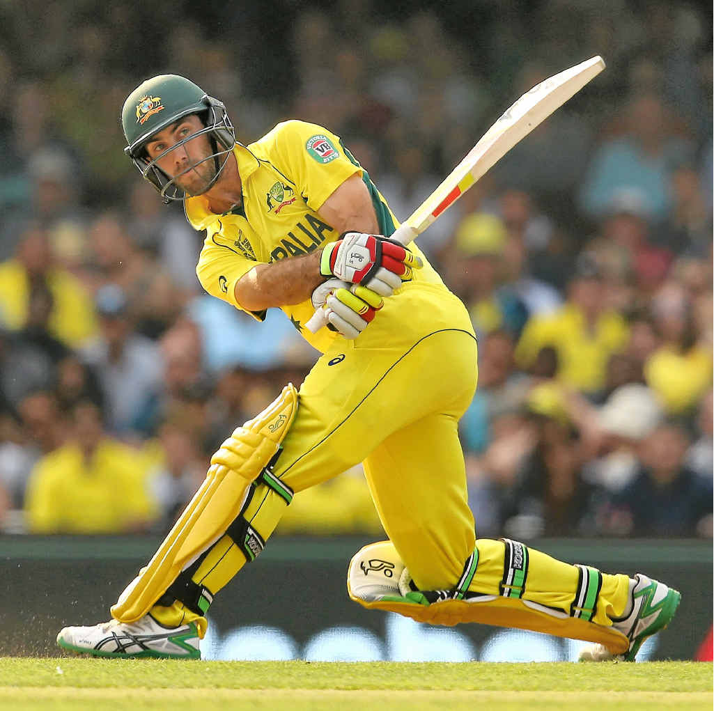 FASTEST TON: Glenn Maxwell hits out on his way to a century against Sri Lanka.