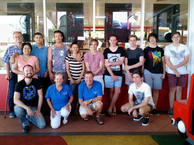 BIG DAY: The Make-a-Wish Foundation presented Euan Doss with his wish at Gympie's Hungry Jack's restaurant on Saturday. Euan, second from left at back, was joined by (standing) Paul and Ruth Doss, Konnel Doss, Elurie Doss, Drew Drake, Josh Wilson, Ty Butler, Matt Stephens, James Wagemaker and (kneeling) Karl Doss, Shirley and Errol Strong and Jack Carswell. Contributed
