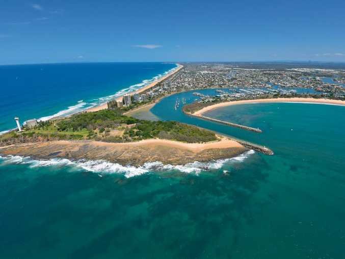 Aerials of the Sunshine Coast Point Cartwright and the mouth of the Mooloolah River. Photo: Brett Wortman / Sunshine Coast Daily
