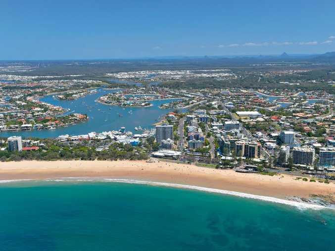 Aerials of the Sunshine Coast at Mooloolaba.