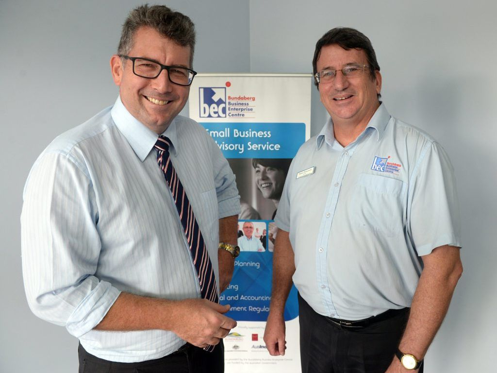 SMALL BUSINESS FUNDING: Member for Hinkler Keith Pitt with Bundaberg Enterprise Centre manager Peter Peterson. Photo taken Tuesday, 10 March 2015. Photo: Max Fleet / NewsMail