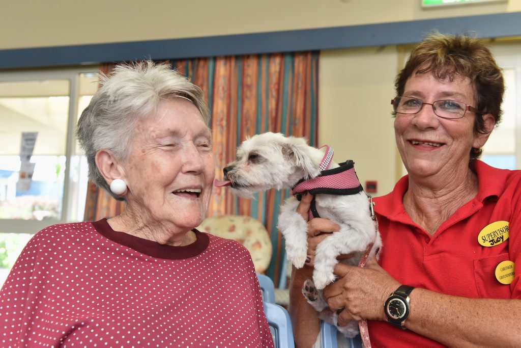 Baycrest Retirement Community resident Frances Barrett, 87, meets one-year-old Mia from the Hervey Bay Animal Refuge with caretaker Judy McConnell.