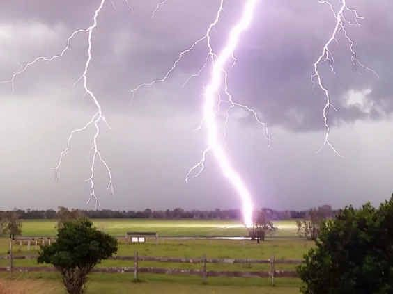 Lightning strikes the ground at Tucabia during Monday's storm.