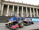 READY FOR ACTION: Daniel Ricciardo's Red Bull Formula One car at Parliament House head of the 2015 Melbourne Formula One Grand Prix. INSET: Daniel Ricciardo