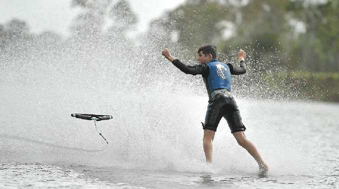 END OF THE LINE: Ben Press, 13, practises barefoot waterskiing on the Calliope River ahead of state and national titles.