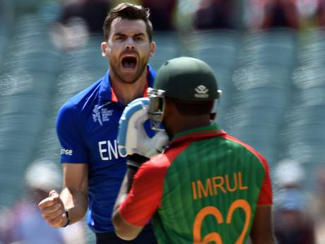 James Anderson roars after taking the wicket of Imrul Kayes