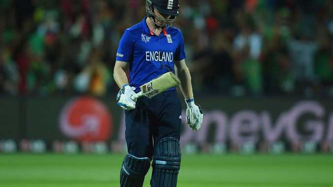 Eoin Morgan trudges off the pitch after another duck