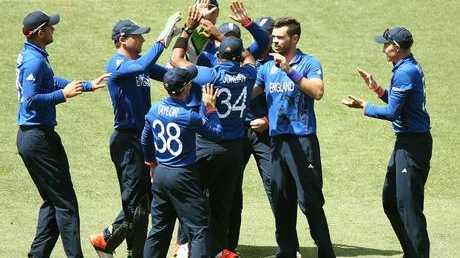 England celebrate the wicket of Imrul Kayes