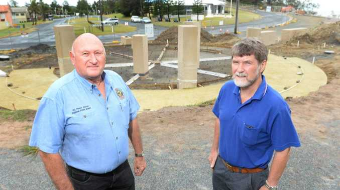 Emu Park RSL Sub Branch President Phillip Luzzi with Barry Vains on the site of the ANZAC Memorial which will be for the 100 years of ANZAC commemorations this April. Photo: Chris Ison / The Morning Bulletin