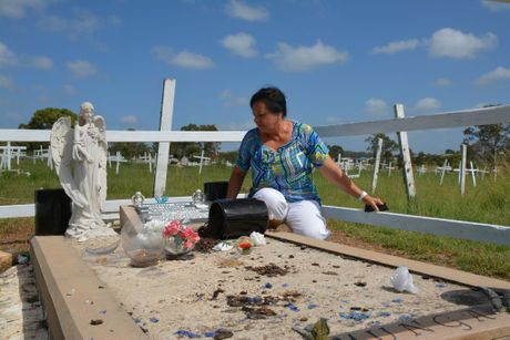 HEARTLESS ACT: Colleen Hurley found her mother's grave destroyed by vandals.