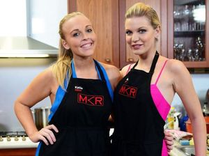 Katie and Nikki catwalk out of My Kitchen Rules