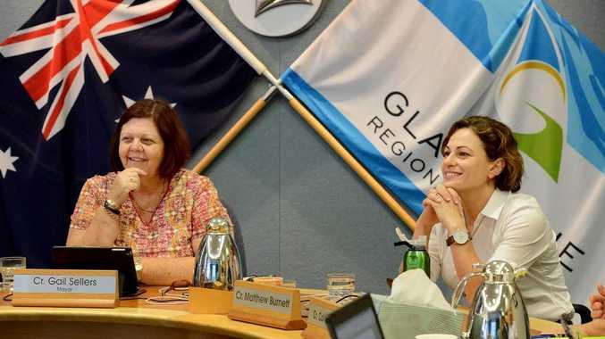 Gladstone mayor Gail Sellers (left) with deputy premier Jackie Trad.