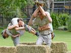 Hold on honey! Wife carrying event towards pot of gold