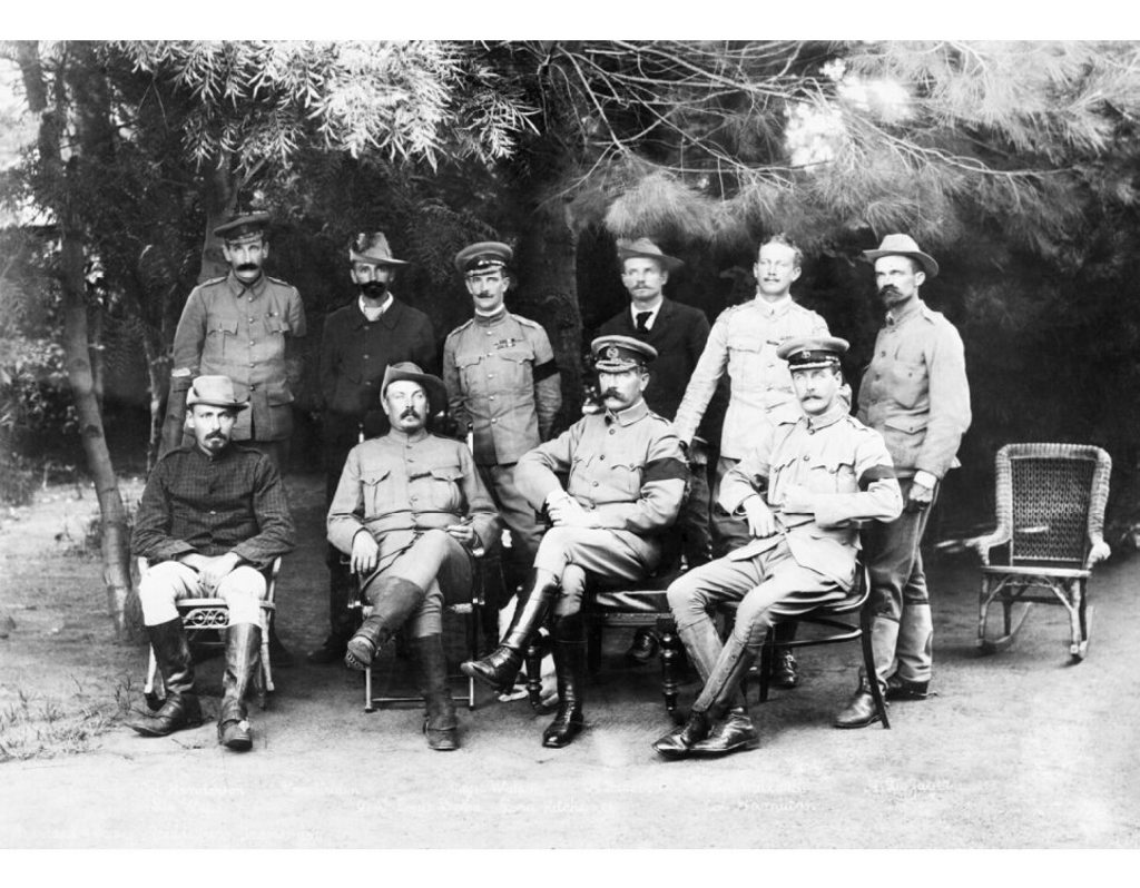General Kitchener (front, second from right) and Colonel Ian Hamilton (front, far right), pictured at a peace conference in the Boer War in February 1901, just prior to Hamilton becoming Kitchener's chief-of-staff.