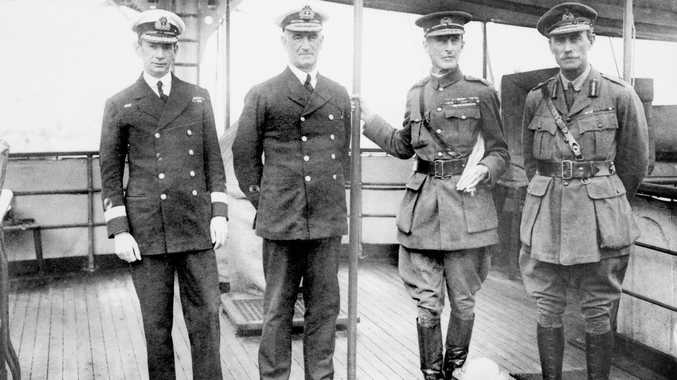 General Sir Ian Hamilton (second from right) with three senior officers from the Dardanelles campaign: the navy's Commodore Roger Keyes, Vice Admiral John de Robeck, and Hamilton's chief-of-staff General Walter Braithwaite. Courtesy of Australian War Memorial H10350