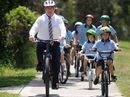 MAYOR Mark Jamieson often drove a horse and sulky to school as a young fellow but yesterday he was encouraging Coast school students to ride their bikes to school with their mates.