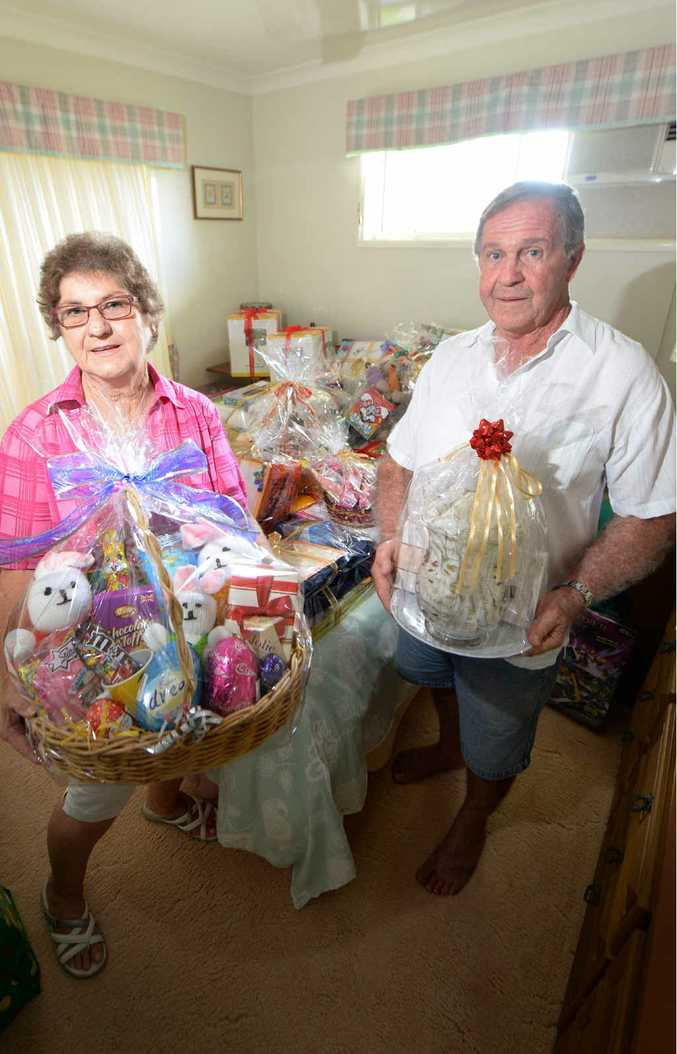 LENDING A HAND: Diana and Clyde Wode have collected hundreds of items from businesses in the region to raise money at the Anglicare Cent Sale on Sunday.