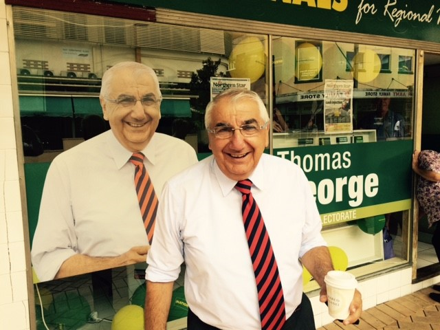 Lismore MP Thomas George at the launch of his 2015 state election campaign today.