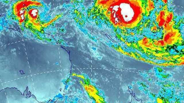 Cyclone Pam, far right in this satellite image, is expected to soon threaten New Zealand's North Island. 