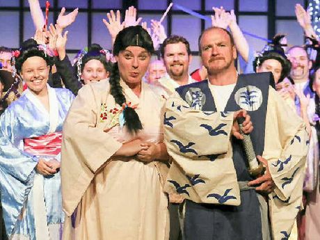 LIGHTS, ACTION: Kathleen Watt (Japanese schoolgirl), Michael Connolly (gentleman of Japan) and the rest of the cast are gearing up for the Mikado shows at the GECC.