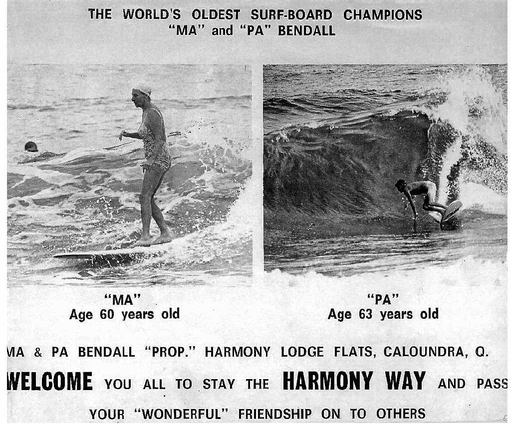 An advertisement for Ma and Pa Bendall's Harmony Lodge Flats, Caloundra, in 1965.