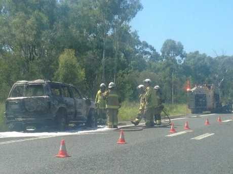 CAR FIRE: A car was on fire on the Bruce Highway close to Turkey Beach.