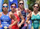 UP FOR IT: Ashleigh Gentle, right, takes a prominent position in yesterday's Triathlon World Cup event in Mooloolaba.