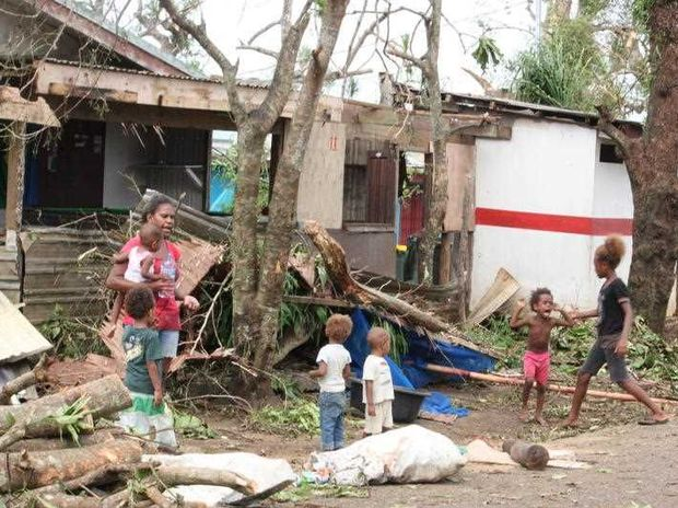 Debris scattered across Port Vila, Vanuatu, Sunday, March 15, 2015. Whole villages were blown away and homes flattened after Cyclone Pam ripped through the Pacific Island nation of Vanuatu.