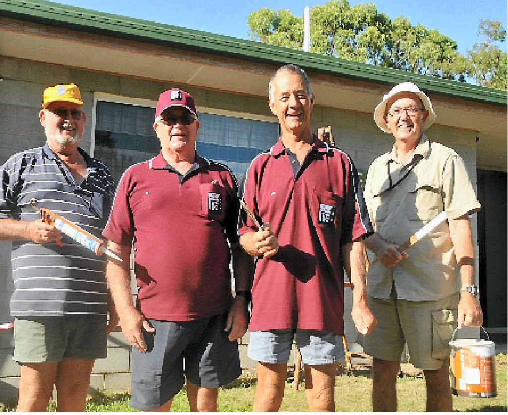 Boyne Tannum Men's Shed members Rick Bichsel, Bill Taylor, Ian Richardson and Gary McLauchlan worked on the Boyne Tannum scout hut.